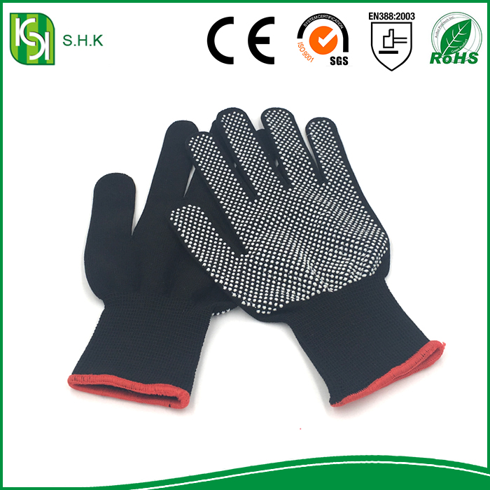 13G polyester dotted gloves nylon pvc rubber dots grip gloves