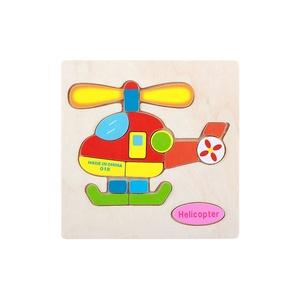 Kid Early educational toys econ-friendly standard good quality solid flat cartoon design wooden jigsaw custom 3d puzzle wood