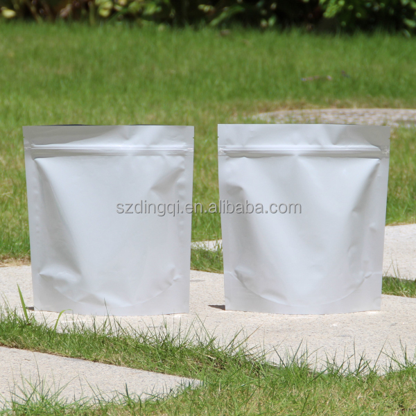 White color foil laminated materials plastic stand up bag with zipper open head packaging clear window for portion type