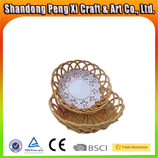 Wholesale small round wilow wicker basket empty for storage food or fruit
