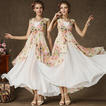 China wholesale latest design plain printing chiffon kaftans chiffon maxi dress