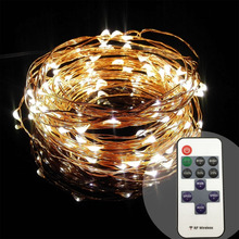 10m 100L 33ft dimmer dimmable remote control copper wire fairy dust LED string lights for Xmas party home garden decoration