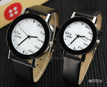 International brand english letters lovers leather black colour wrist watch