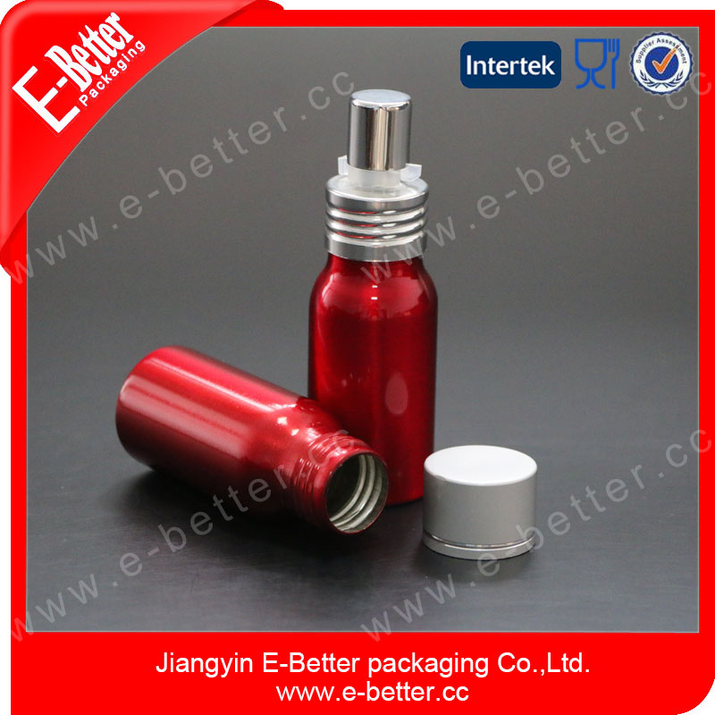 30ml cute and shining red aluminum air fresher bottle with sprayer
