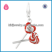 "high polish red enamel lollipops with ""be mine"" engraved charm pendant"
