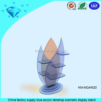 China factory supply blue acrylic tabletop cosmetic dispaly stand