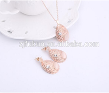 2017 new design oval shaped jewelry for girl pink rhinestone opal jewelry set