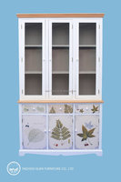 wooden cupboard furniture solid wood glass display cabinet set