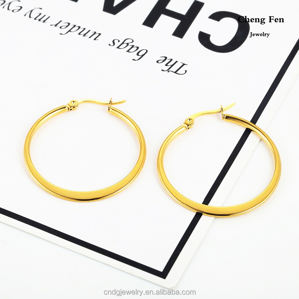 2017 Fashion Jewelry 2mm Width Flat Gold Ear Ring Big Round Simple Plain Hoop Earrings without Diamond