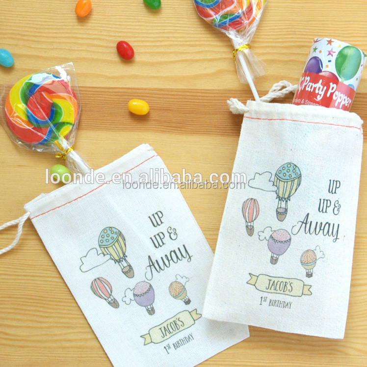 Adorable hot air balloon muslin birthday party goodie bag