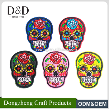 Sewing craft 10 pcs/pack skull iron on patches embroidered