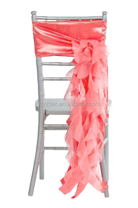 Hot sale blue fancy ruffle wedding fancy chair sashes and chair cover for weddings