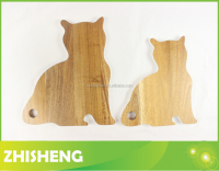 CB-W19S Cat shape cutting board, acacia wood chopping board, animal shaped cutting board