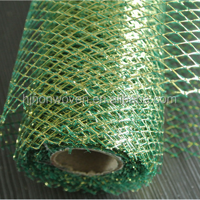 metallic mesh roll for wedding decoration/gift wrapping fabric