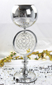 Christmas round glass vases for centerpieces with LED light for party decoration