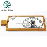 new rectangle acacia wooden frame ceramic cheese cutting board with handle