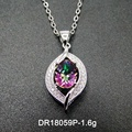 Wholesales 925 Sterling Silver Oval Mystic Topaz Pendant Jewelry Sets for Woman Gift