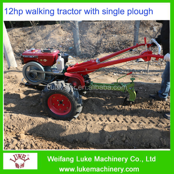 12hp two wheel tractor transmission with plough and rotary tiller hot sale