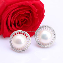 2016 Latest Fashion Indian Style Freshwater Pearl Stick Earrings with Earring Backs