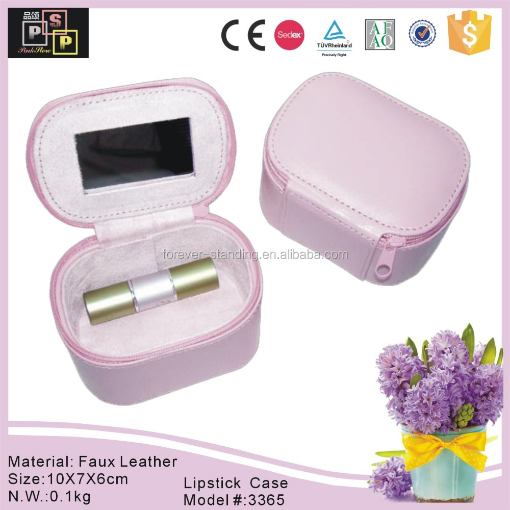 New custom packaging cheap PU leather lighted lipstick case with mirror