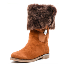 wholesale new design fashion suede high quality flat warm snow one fur russian winter boots