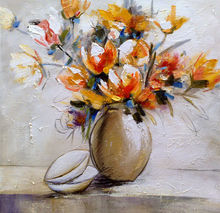 popular handcraft oil painting flower picture