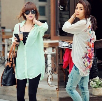 Europe Women's Fashion Loose Long Chiffon Floral Print Shirt Blouse Tops plus size 16450