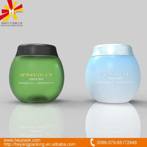 OEM ball shape pet plastic cosmetic jar with gold/silver hot stamping
