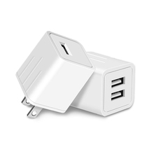 White USA dual port USB Wall Charger 5V 2.1A Fast Charging for smartphone