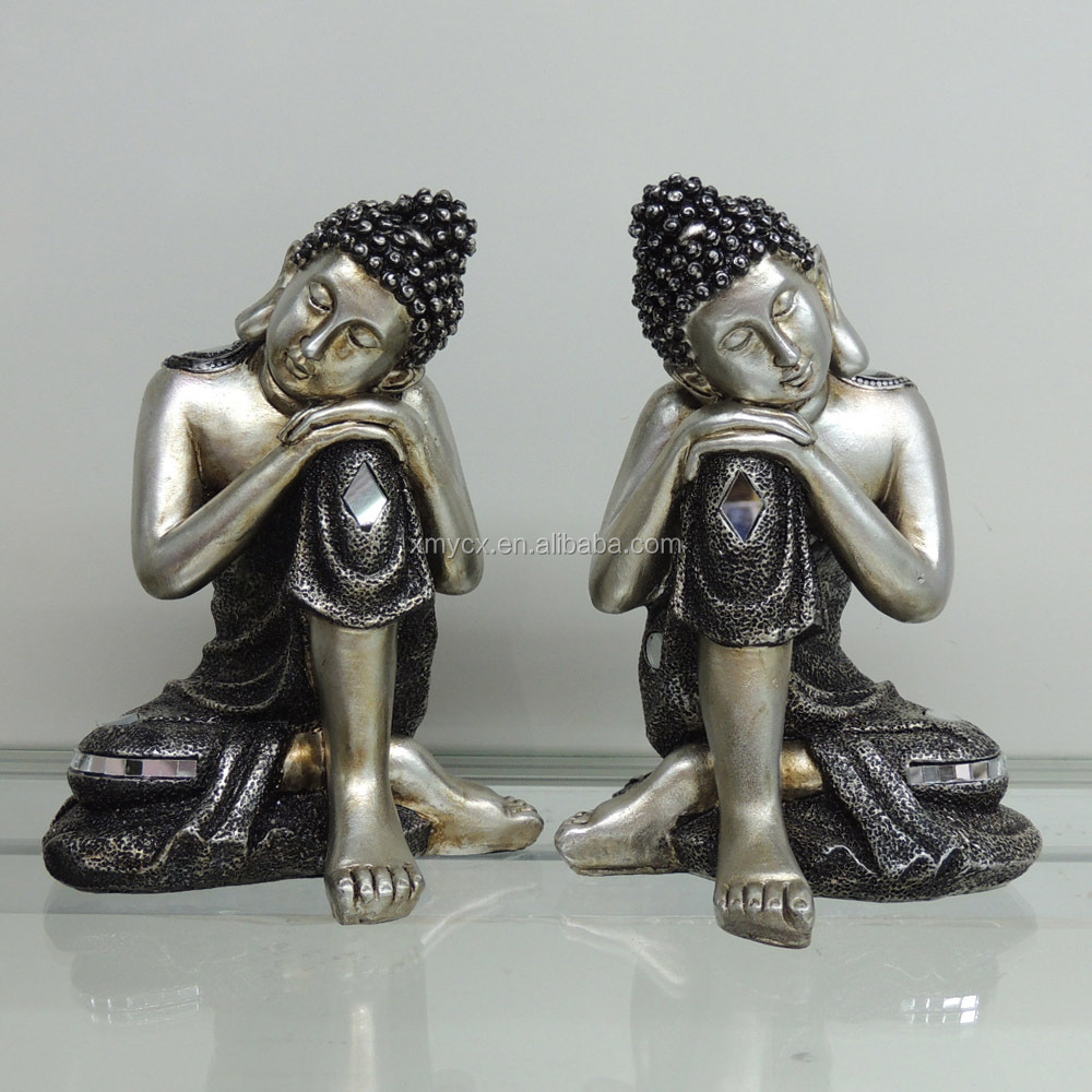 Home indoor decorative polyresin silver buddha figures