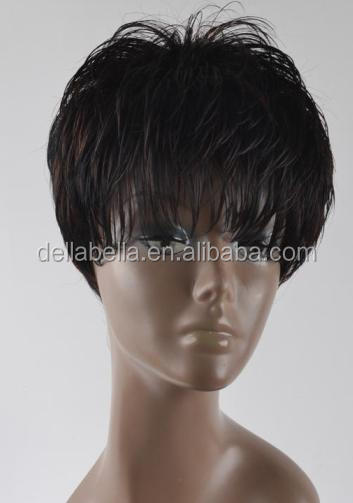 Lady trendy design cool short thinning hair fiber wig