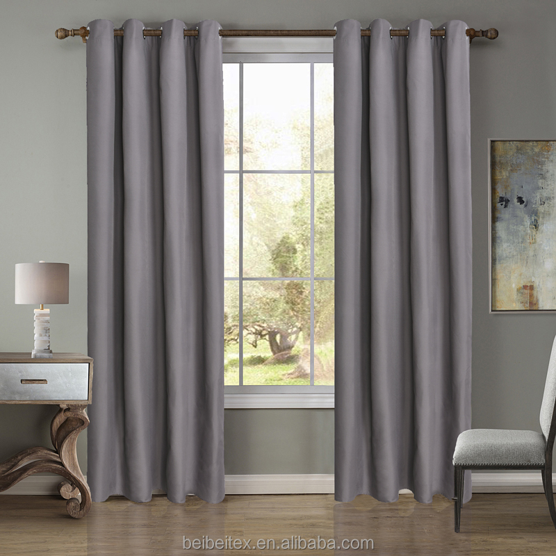 Factory Manufacture Curtain Wholesale Brown/Grey 100% Polyeste Fabric Hotel Blackout window Curtain