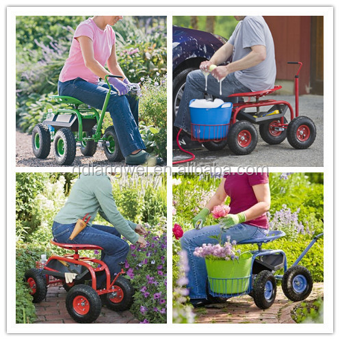 Steerable Rolling Garden Cart Work Seat With Tool Tray Buy Garden Seat With Wheels Steerable