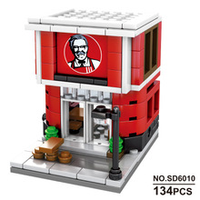City Series Diamond blocks NO compatible Legoed McDonald Mini store shop sets food Street house Model Building children girl Toy