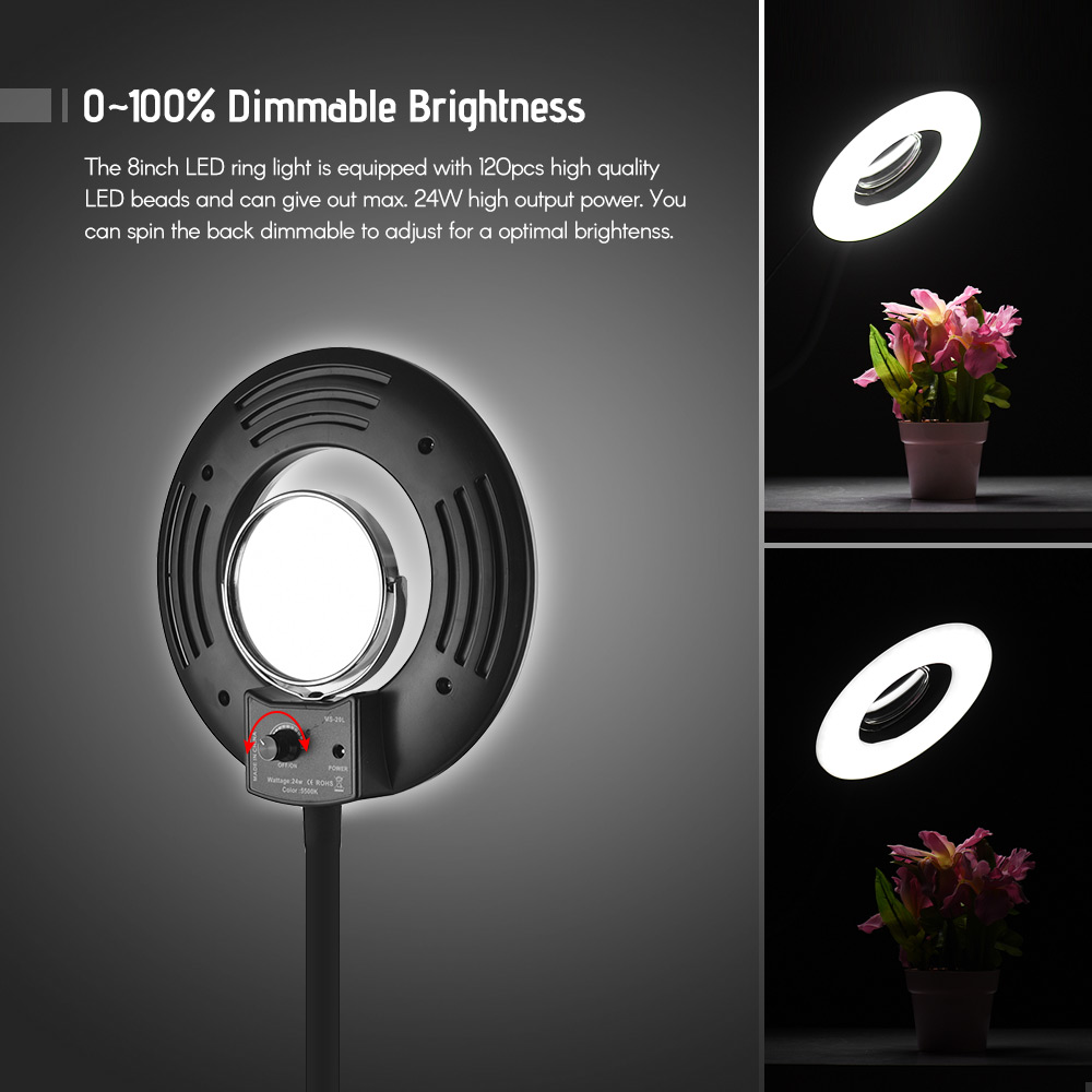 Portable table clip 5500k selfie ring light 8inch 24w led selfie lights for beauty