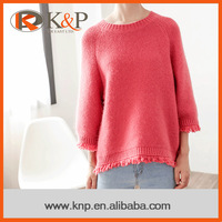 Oline shopping color-customized pink ladies winter custom knit sweater