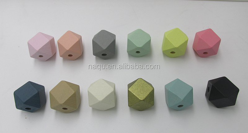 Factory Price 20mm Pastel Geometric wood Beads