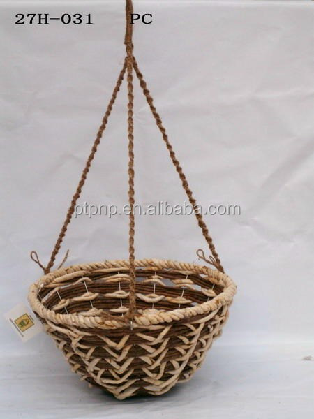 Wicker hanging basket-Handmade hanging rattan flower basket