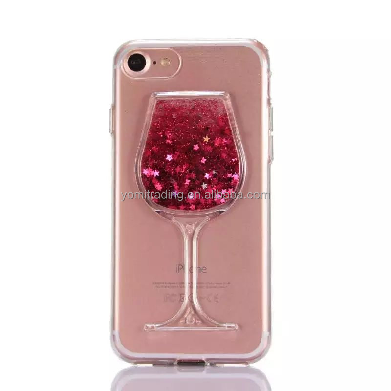 2017 Special Design colorful Liquid Quicksand Red Wine Glass Back Cover Transparent Hard PC Phone Cases For Apple iPhone 6G/6S