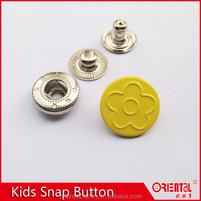 4 parts colorful cute kids prong type metal spring snap button