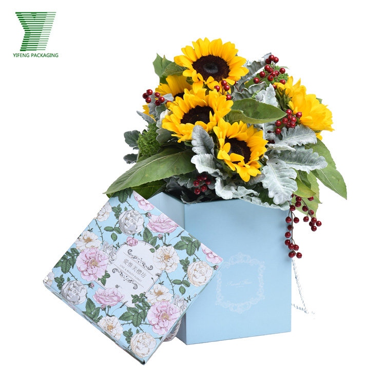 Luxury Paper Flower Gift Box with Logo Hot Stamping and Ribbon Handle Flower Boxes