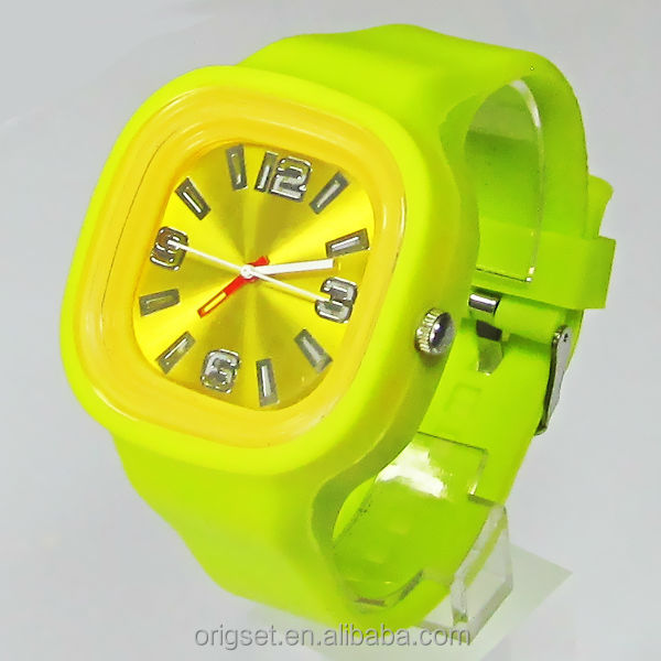 Square silicon watches square face logo watch