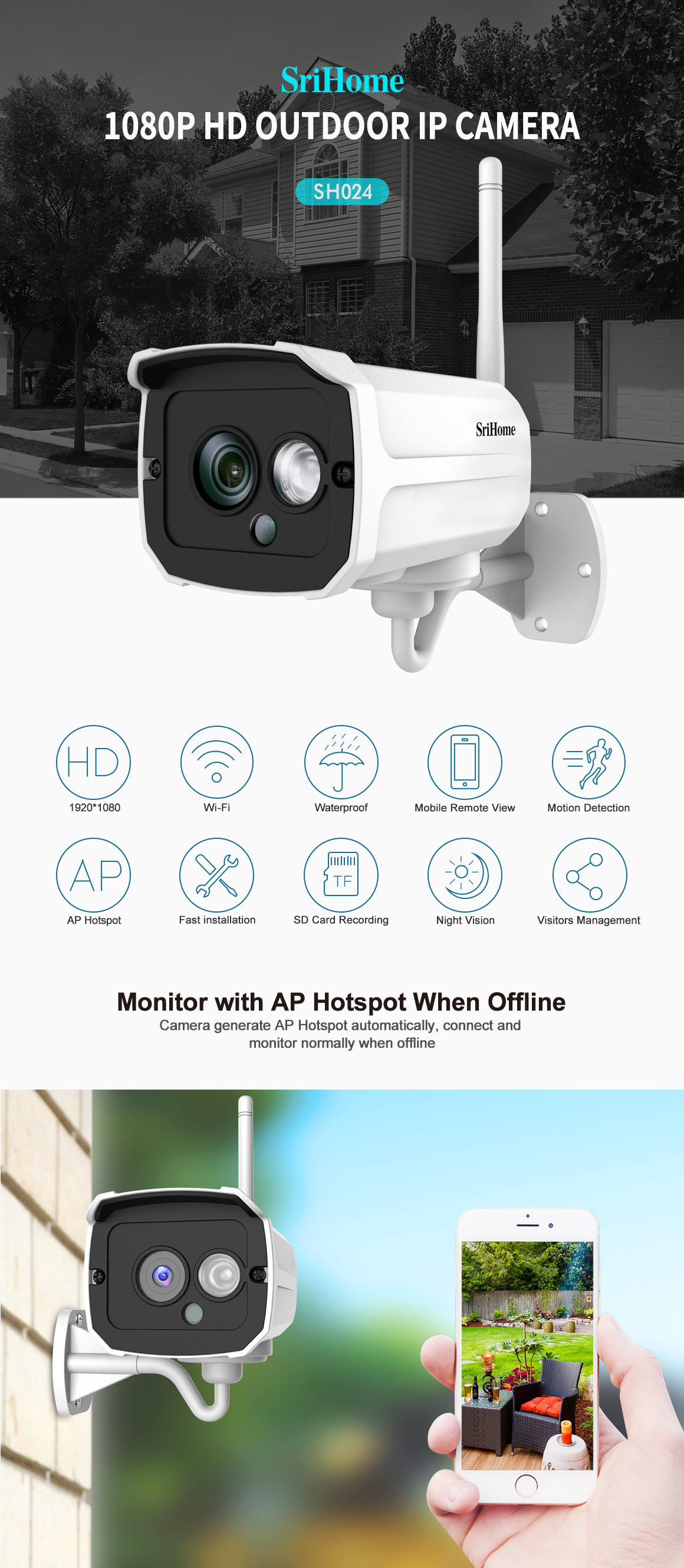 Wifi 1080P HD ONVIF Outdoor Wireless Security IP Camera Night Vision SD record