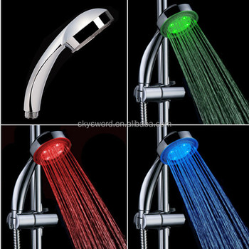 Factory price rainbow color changing bathroom shower head rainfall shower head with led