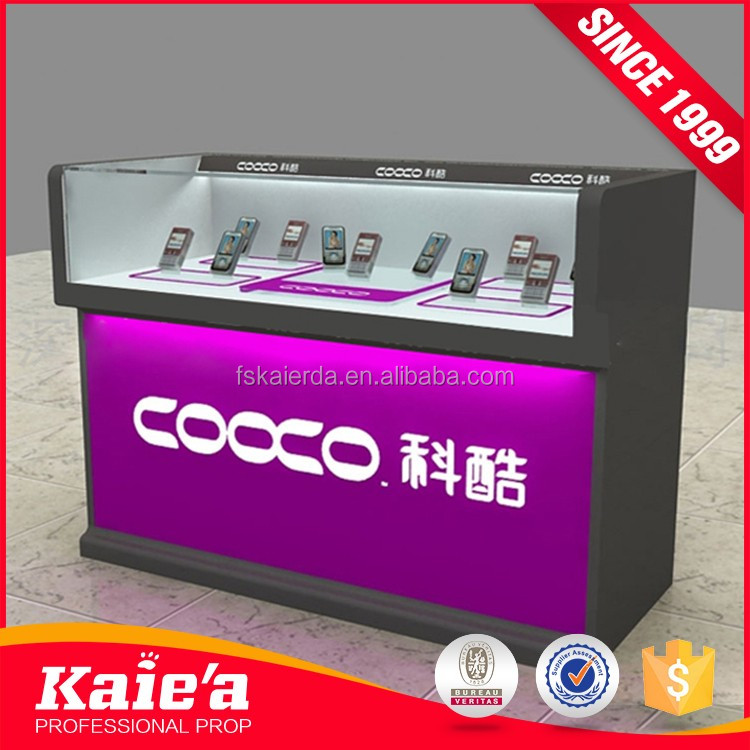 MDF and glass mobile phone store design cell phone display showcase with lot of LED