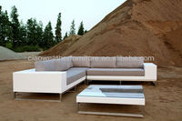 White rattan outdoor furniture L shape corner sofa PE wicker garden sofa set