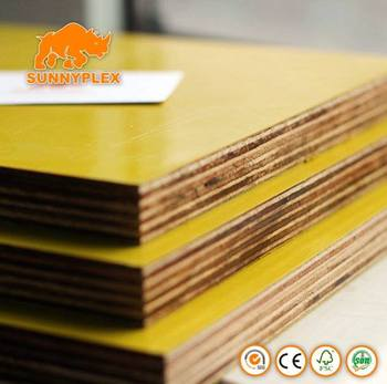 4*8 cheap Yellow Plastic Faced plywood Sheet for concrete shuttering formwork