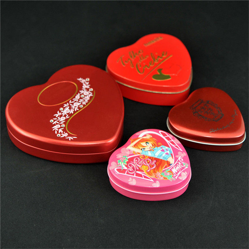 Heart shape candy tin can and food packaging tin container for chocolate pack usage made by T1 metal tins material from SZ