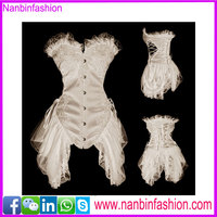 White overbust steel bone embroidered full body corsets for women