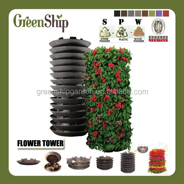 2015 Hot Sales Decorative Garden Flower Tower(Pot) From Garden Supplies